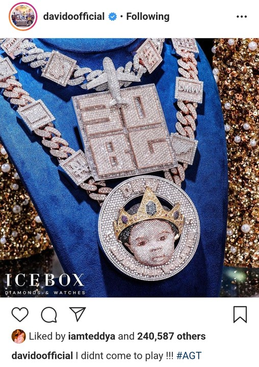 Davido Reveals The Face Of His Son On N150M Customized Diamond Necklace